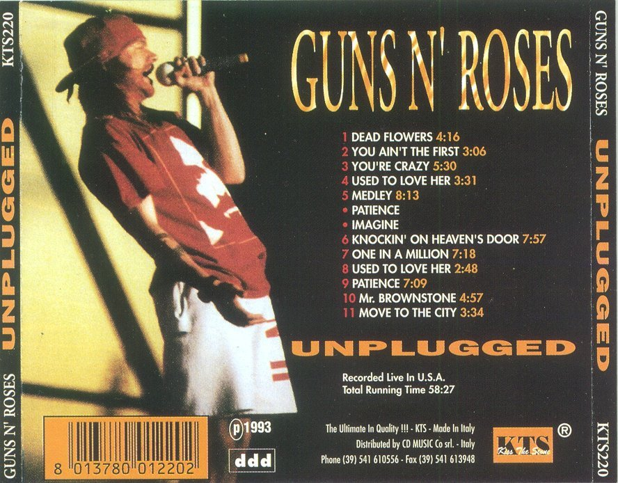 soundboard guns n 39 roses unplugged bootleg covers. Black Bedroom Furniture Sets. Home Design Ideas